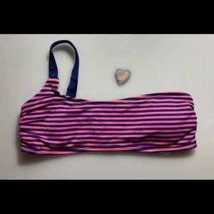 Splendid Bikini Top pink and navy stripes size M